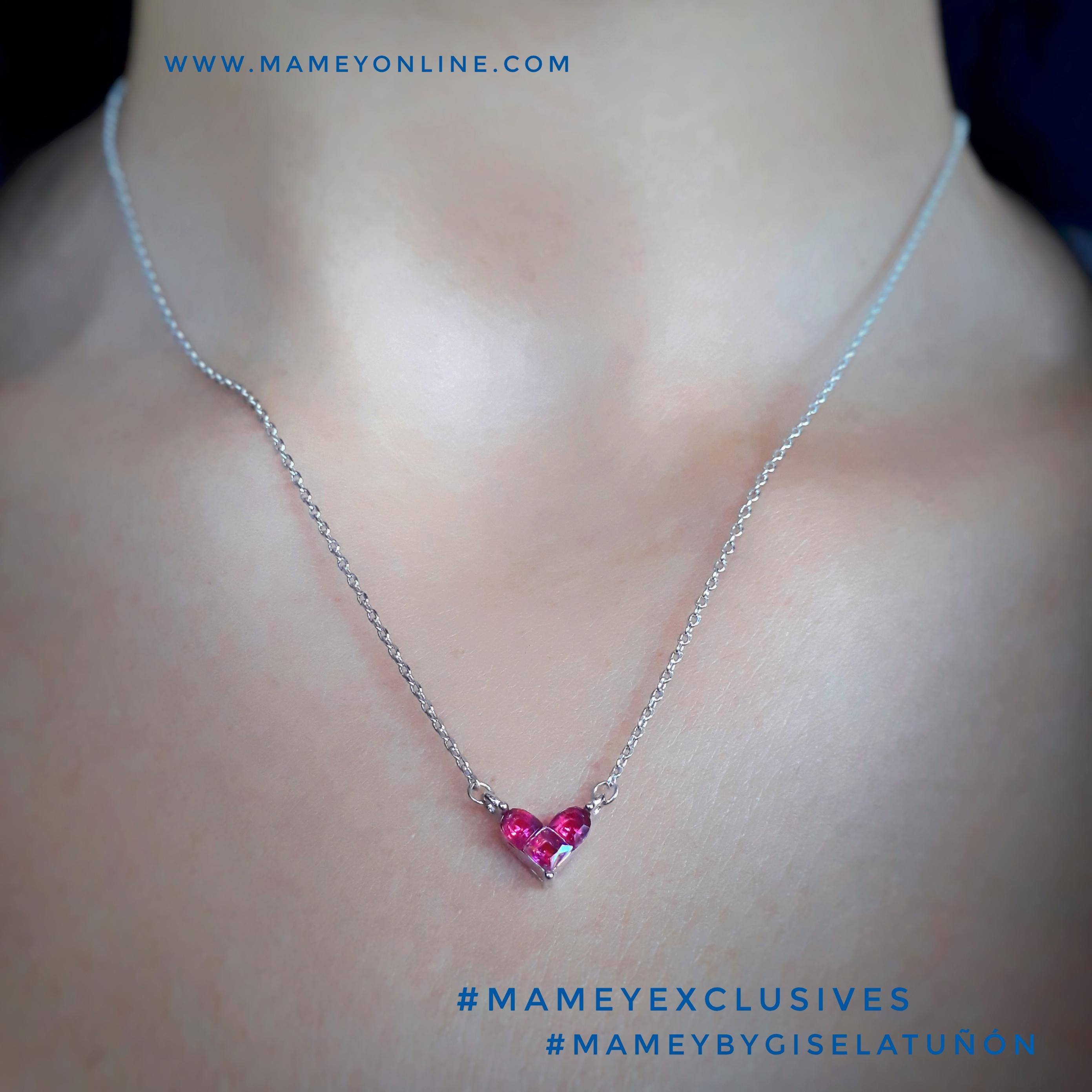 3e596f492d7d MA02 – Collar de acero inoxidable con corazón de cristales color rosa  intenso