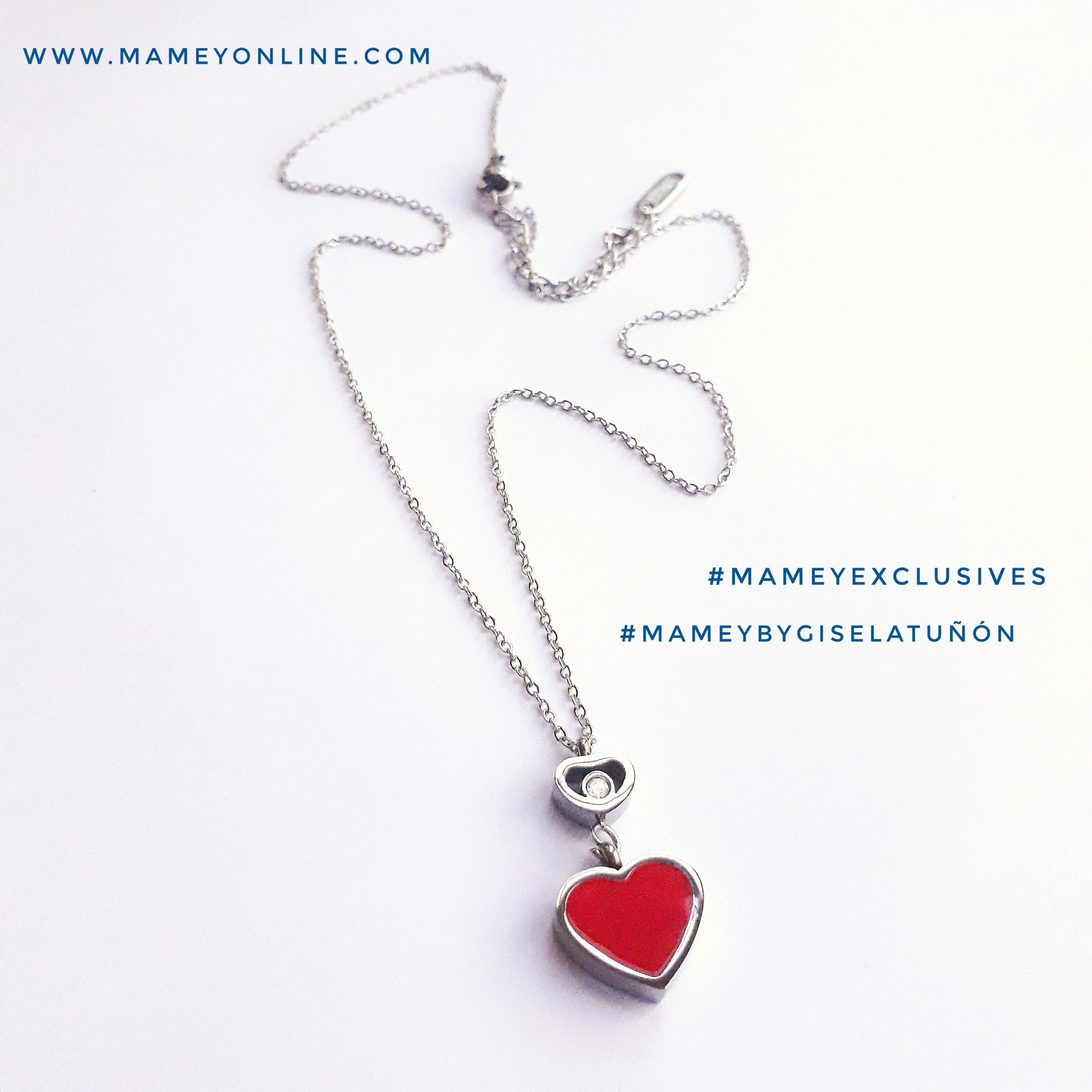 802624d62bc1 MA04 – Collar de acero inoxidable plateado con corazón rojo y rhinestone