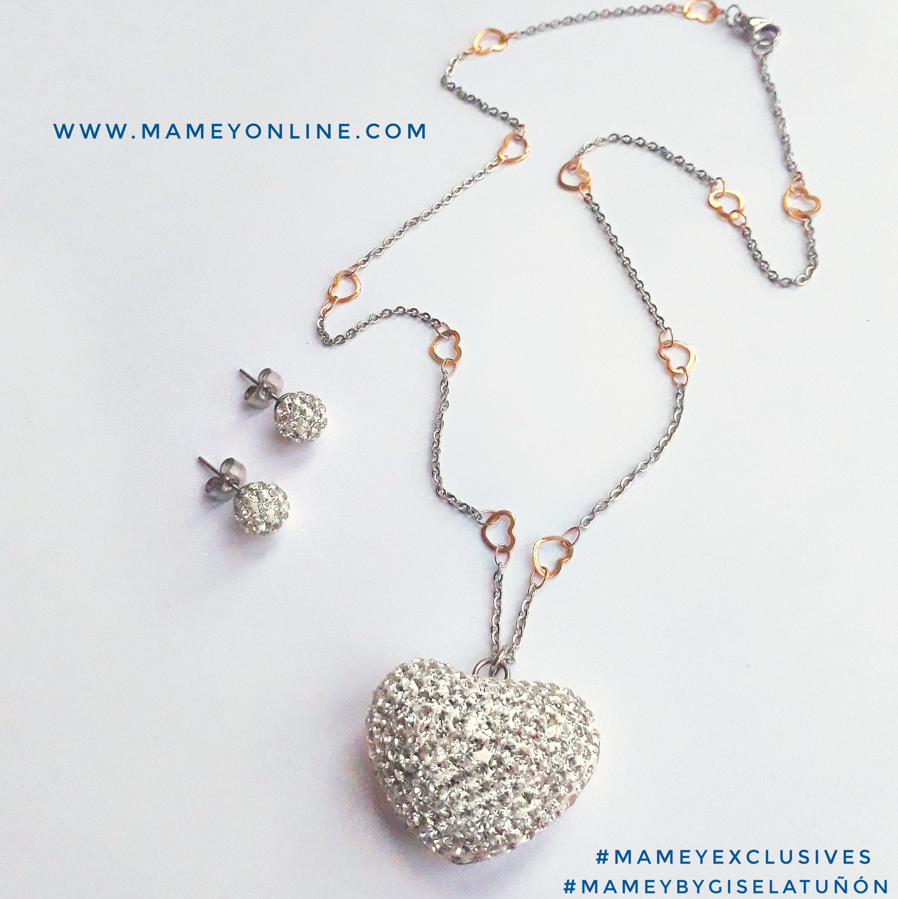 4c2f605ed89d MA06 – Juego de collar y dije de corazón gordito con rhinestones y cadena  de corazones  acero inoxidable. Diseño único y exclusivo  ByGiselaTuñón