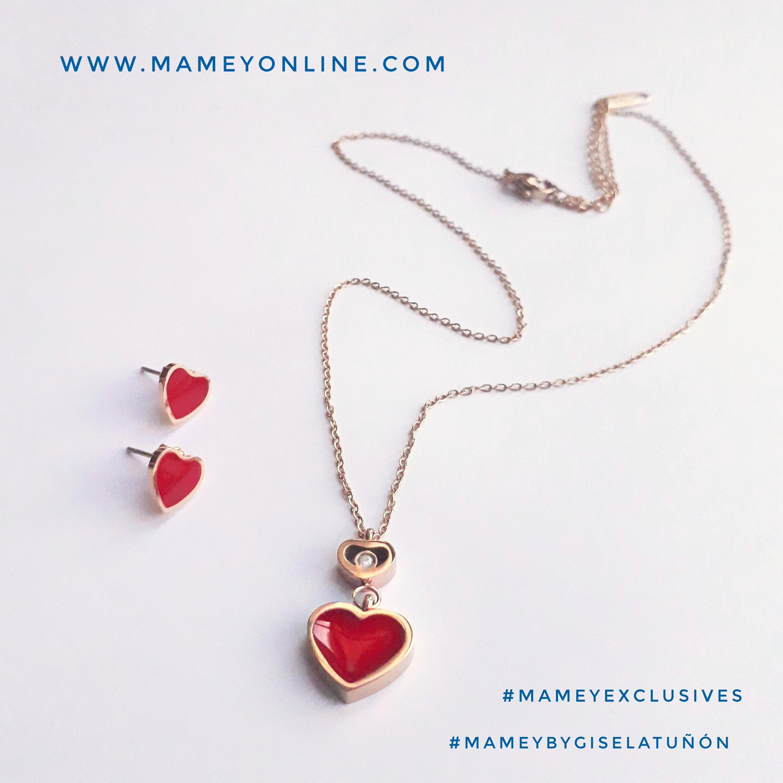 e266e9885174 MA00 – Juego de aretes y collar con corazón rojo de acero inoxidable en  tono RoseGold